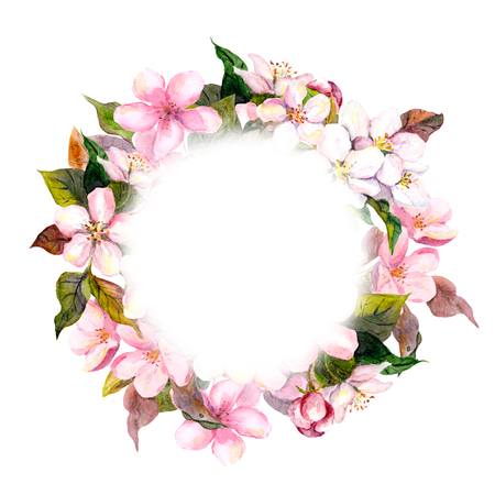 Floral round crown, wreath with pink flowers - apple, cherry blossom for postcard. Aquarelle Stock Photo