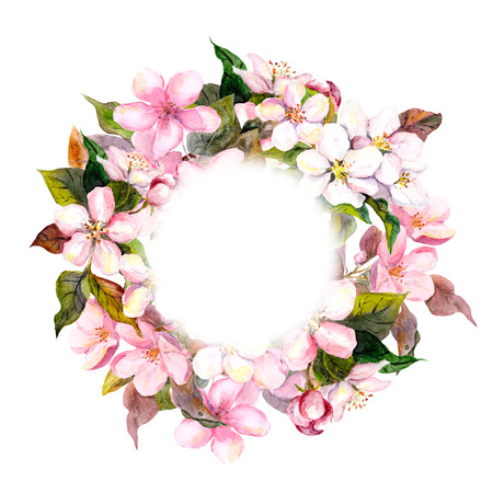 Floral round wreath with pink flowers - apple, cherry blossom for elegant postcard. Watercolor