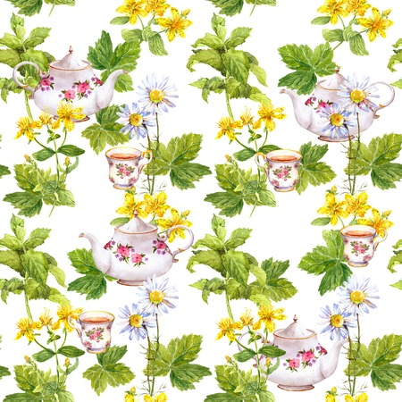Kruidenthee. Het herhalen naadloos patroon. bloemenwaterverf Stockfoto