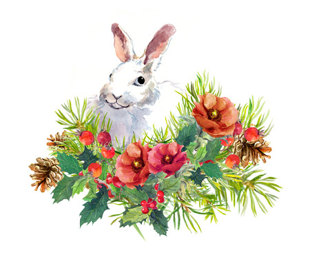 Winter rabbit, flowers, pine tree, mistletoe. Christmas, new year watercolor for greeting card with cute animal