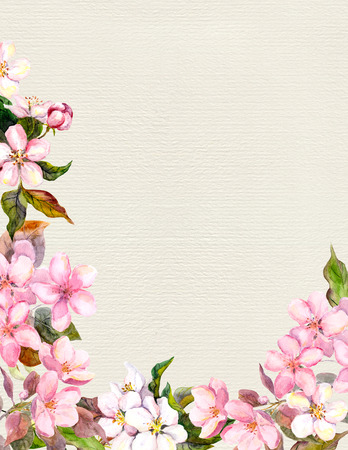 aquarel: Pink flowers - apple, cherry blossom. Floral frame for retro card. Vintage watercolor on paper background