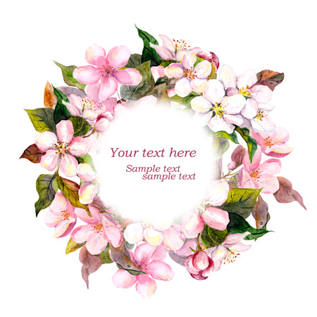 aquarel: Floral round wreath with pink flowers - apple, cherry blossom for elegant postcard. Watercolor