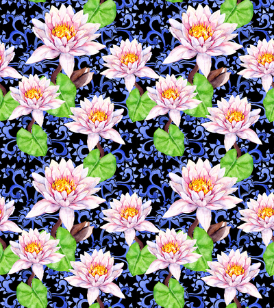 Lily flowers - waterlily, decorative ethnic design. Seamless floral pattern. Watercolor