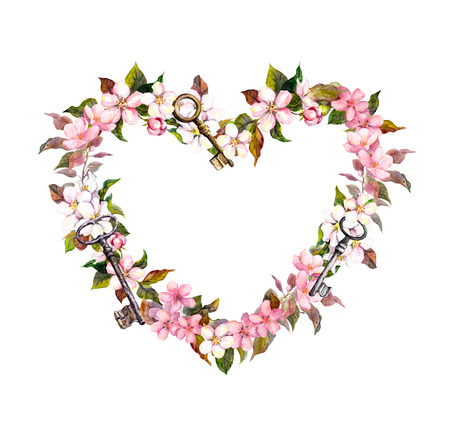 Floral wreath - heart shape. Pink sakura flowers, keys. Watercolor for Valentine day, wedding