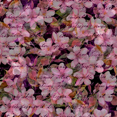 Cherry blossom, pink flowers, hand written text. Black background. Mysterious seamless pattern