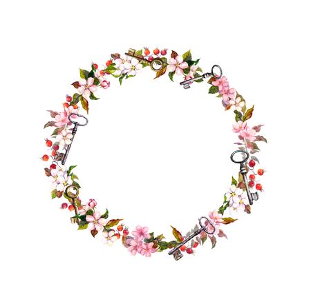couronne de fleurs avec des fleurs de printemps, les clés. aquarelle vintage cadre rond Banque d'images