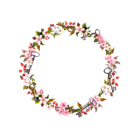 Floral wreath with spring flowers, keys. Vintage watercolor round frame