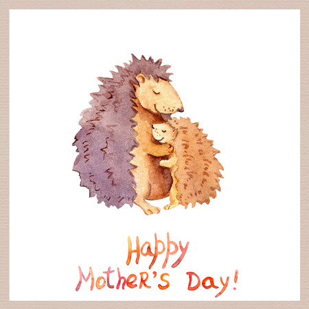 familia abrazo: Mom hedgehog embrace her kid. Card for Mothers day with animal family. Watercolor