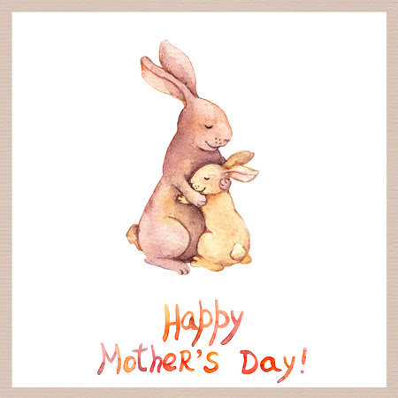 aquarelle: Card for Mothers day with cute animal - mother rabbit embrace her adorable kid. Aquarelle art