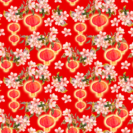 Branch of plum blossom, red paper lantern. Chinese new year repeating background. Watercolor Stock Photo