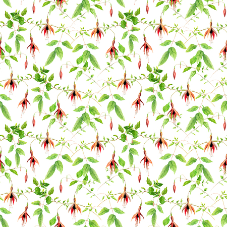 flores fucsia: Fuchsia flowers. Seamless floral pattern. Watercolor Foto de archivo