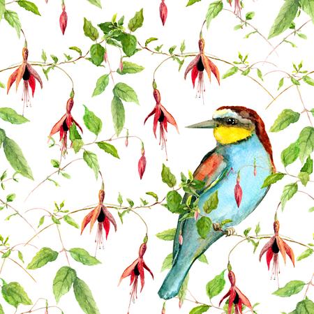 flores fucsia: flores fucsia exóticas y aves tropicales brillante. Repitiendo el estampado de flores. Acuarela