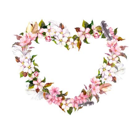 Bloemkrans - hartvorm. Roze bloemen en veren. Waterverf voor Valentijnsdag, bruiloft in vintage boho stijl