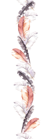 repeated: Feathers. Repeated border frame. Watercolour strip Stock Photo