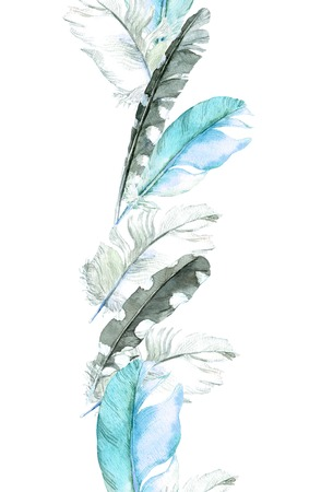 Feathers border. Repeating line. Watercolor
