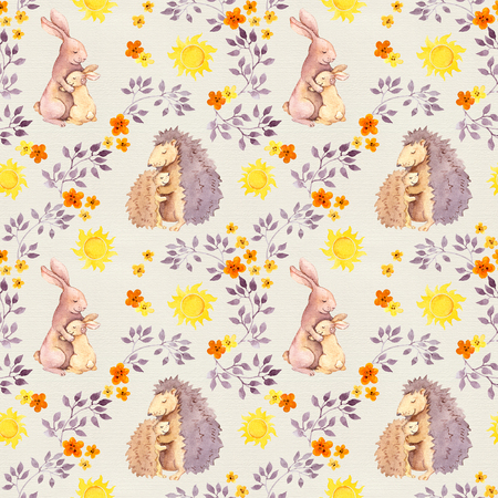 Mother rabbit and mom hedgehog hug baby animal. Watercolor painted seamless pattern