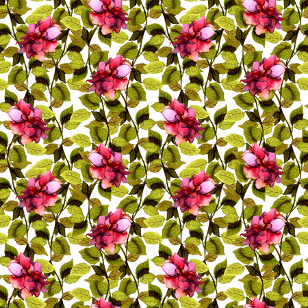 Repeated floral pattern with watercolor drawn lush red rose flower Stock Photo