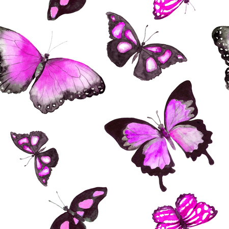 Butterflies. Seamless pattern. Watercolor