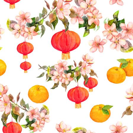 マンダリンの花梅、赤い提灯の休日ブランチ。背景に繰り返し中国の旧正月。水彩