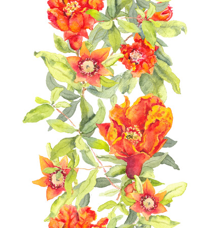 Pomegranate red flowers. Seamless floral border. Watercolor