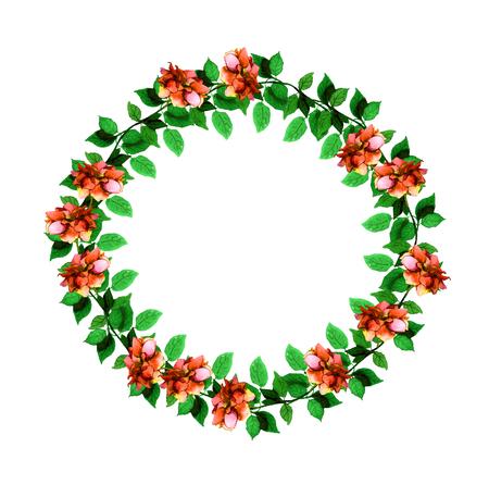 aquarel: Floral circle garland wreath with vivid watercolor painted