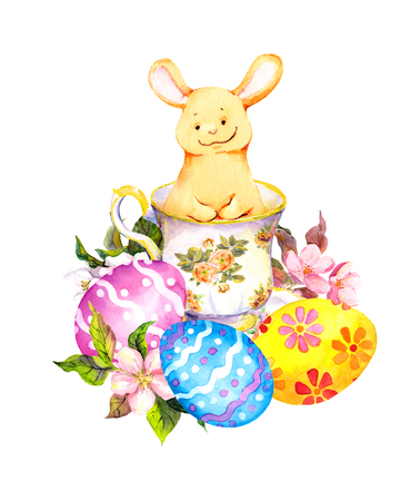 water: Cute easter bunny in tea cup, with colored eggs, flowers. Watercolor Stock Photo