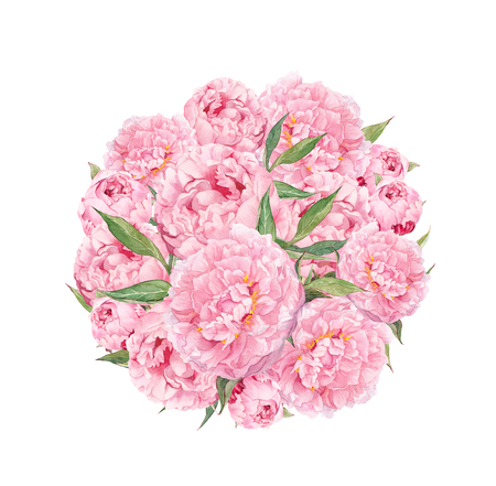 Floral circle with pink peony flowers. Vintage watercolor