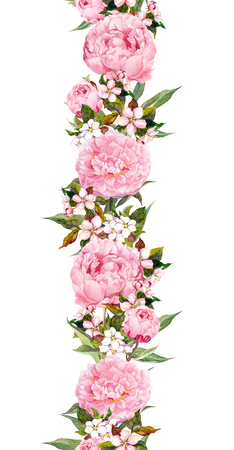 Floral border - peony and cherry blossom flowers. Seamless wedding stripe. Watercolor Stockfoto