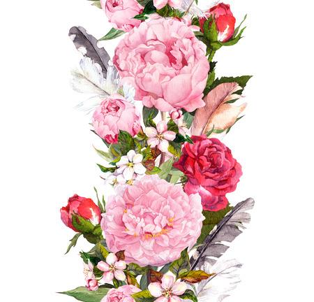Bordure florale avec des fleurs, des roses, des plumes. Vintage bande répétée. Aquarelle Banque d'images - 75500787