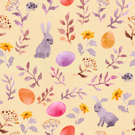 Easter bunny, colored eggs in grass and flowers. Seamless floral easter pattern. Watercolor