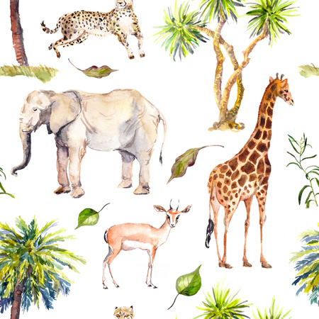 Palm trees and savannah animals - giraffe, elephant, cheetah, antelope. Zoo seamless pattern. Watercolor