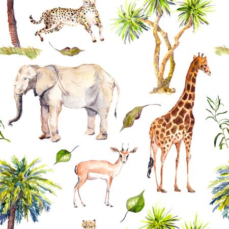 Palmbomen en savanne dieren - giraf, olifant, jachtluipaard, antilope. Zoo naadloze patroon. Waterverf Stockfoto