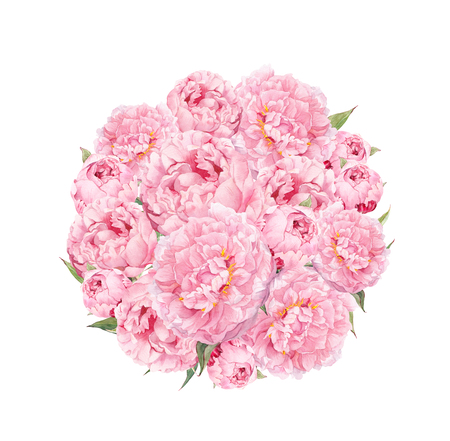 Flowers pattern with peonies. Round bouquet of pink flowers. Floral watercolor