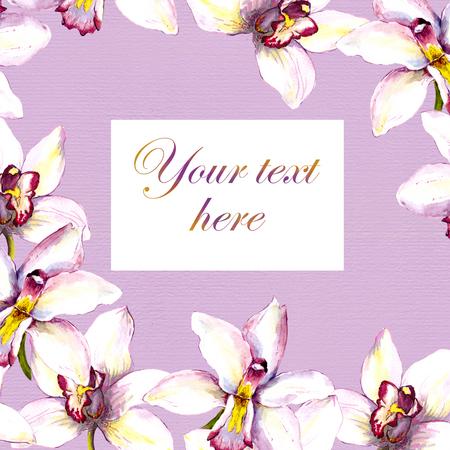 Bloemen postkaart - witte orchidee bloem en tekst ruimte. Handgeschilderde aquarelltekening