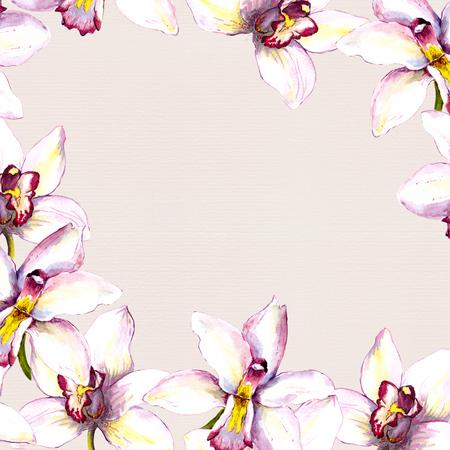 白い蘭の花と花のベージュ色の背景。手描きの aquarell 図面
