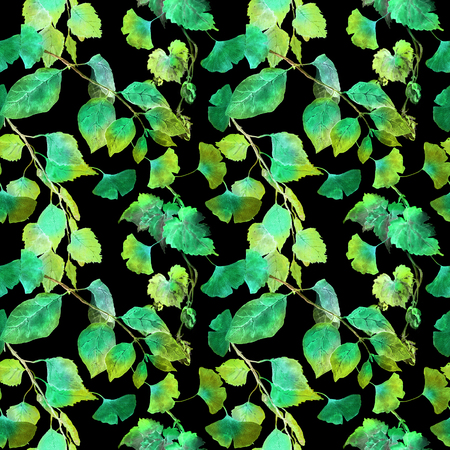 original ecological: Green leaves in night forest. Seamless pattern, black background. Watercolor