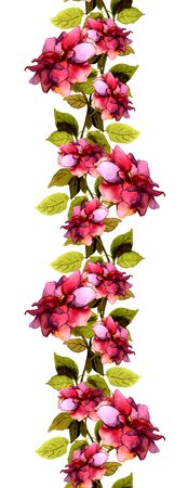 Floral seamless strip border with bright roses flowers Stock Photo