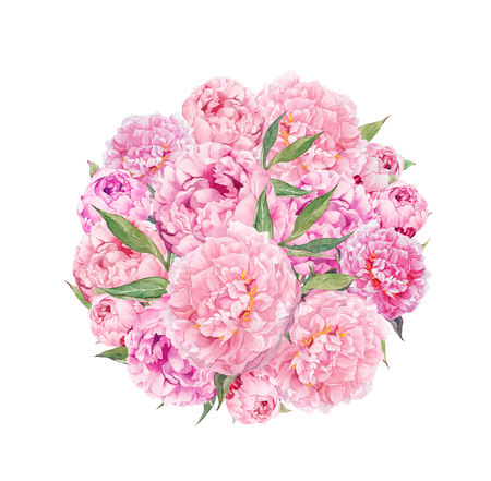 Bloemen cirkel achtergrond - roze pioen bloemen. Waterverf Stockfoto - 76039667