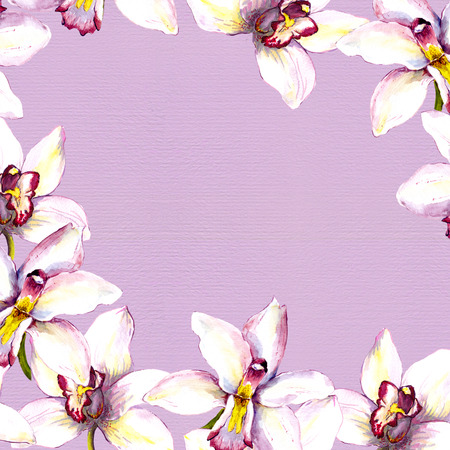 copy text: Floral background - white orchid flowers on violet paper texture. Hand painted aquarelle drawing