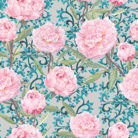 asian art: Pink peony flowers. Vintage floral repeating asian pattern, oriental ornamental decor. Watercolor Stock Photo