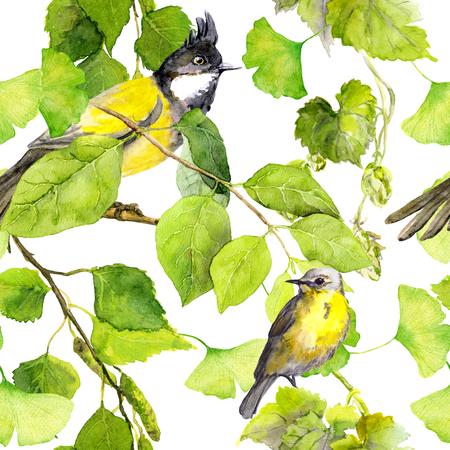 Groene bladeren, vogels. Naadloos patroon. Waterverf