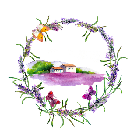 provence: Rural farm - provencal house, lavender flowers field in Provence. Watercolor Stock Photo