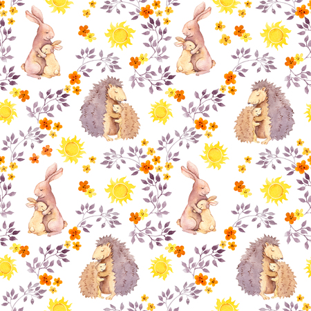 baby: Mother rabbit and momhedgehog hug baby animal. Watercolor painted seamless pattern Stock Photo