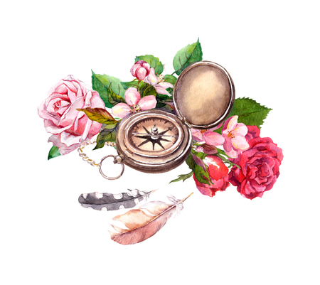 compass rose: Vintage watercolor with compass, flowers, feathers. Travel concept