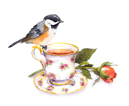 Hand getekende kleine aquarelvogel op theekopje en rozenbloem