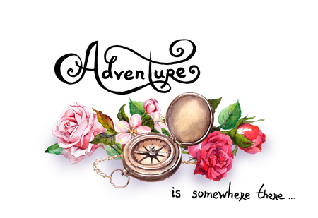 compass rose: Compass - geography equipment, flowers with text Adventure . Geographic exploration concept. Watercolor