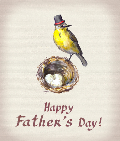 Fathers day card. Vintage bird in tall hat at nest with eggs. Watercolor