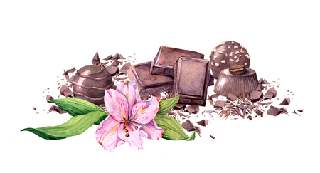 Chocolate block, chocolate candy and flower. Vintage watercolor
