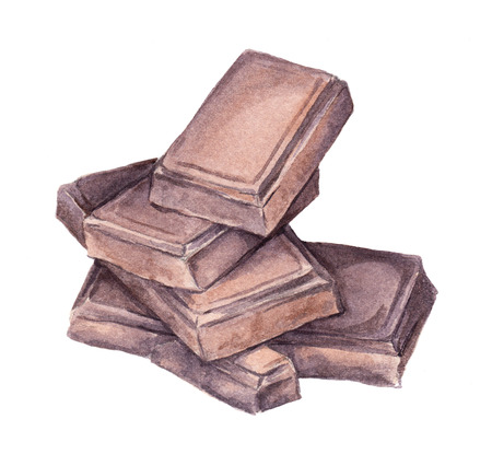 Chocolate blocks. Watercolor Stock Photo
