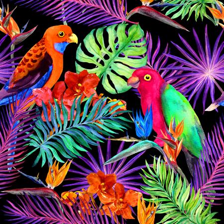 Feuilles tropicales, fleurs exotiques, oiseaux perroquets au néon. Répétant le motif de la jungle. Aquarelle Banque d'images - 79671942